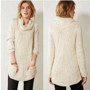 Anthropologie Guinevere Cabled Cowl Neck Pullover